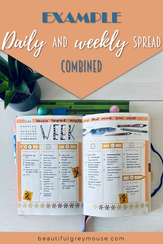 Example of a daily and weekly spread combined