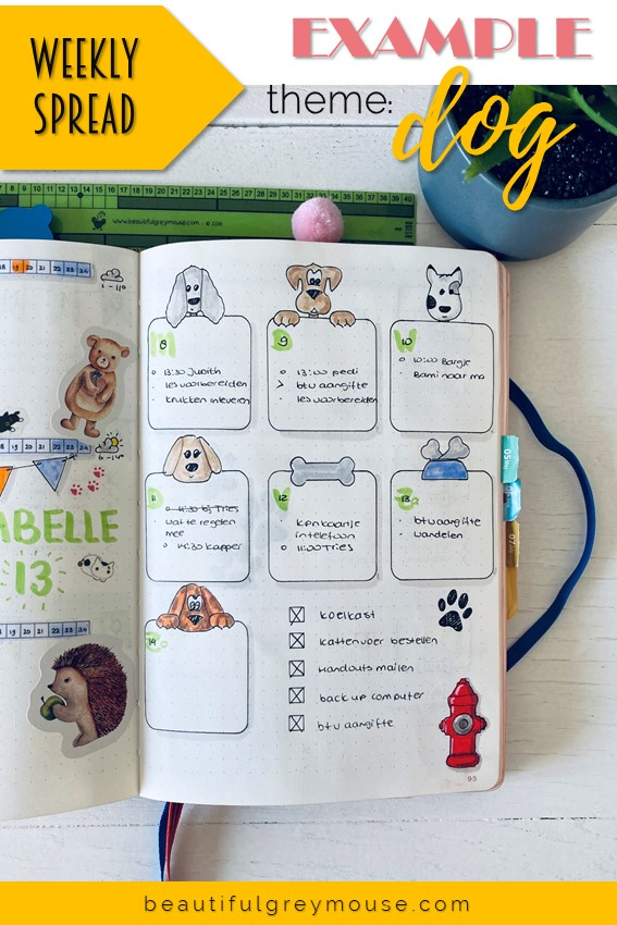 Weekly view for in your bullet journal, theme animals theme dog