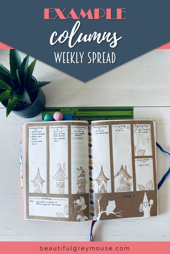 Example of a weekly spread with columns for your bullet journal