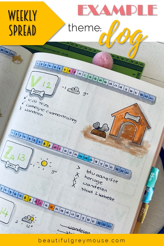 Expample of a weekly spread with an animal theme doghouse