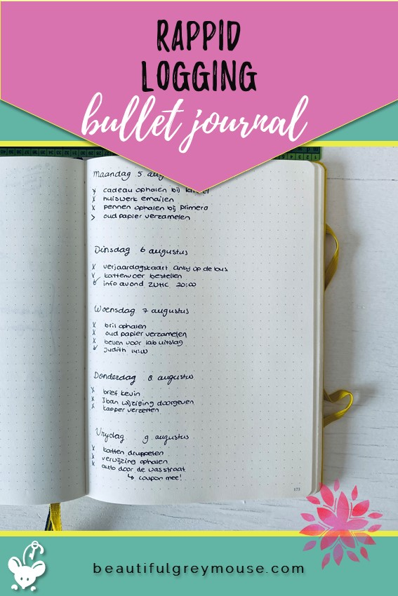 Example of Rappid Logging in a bullet journal