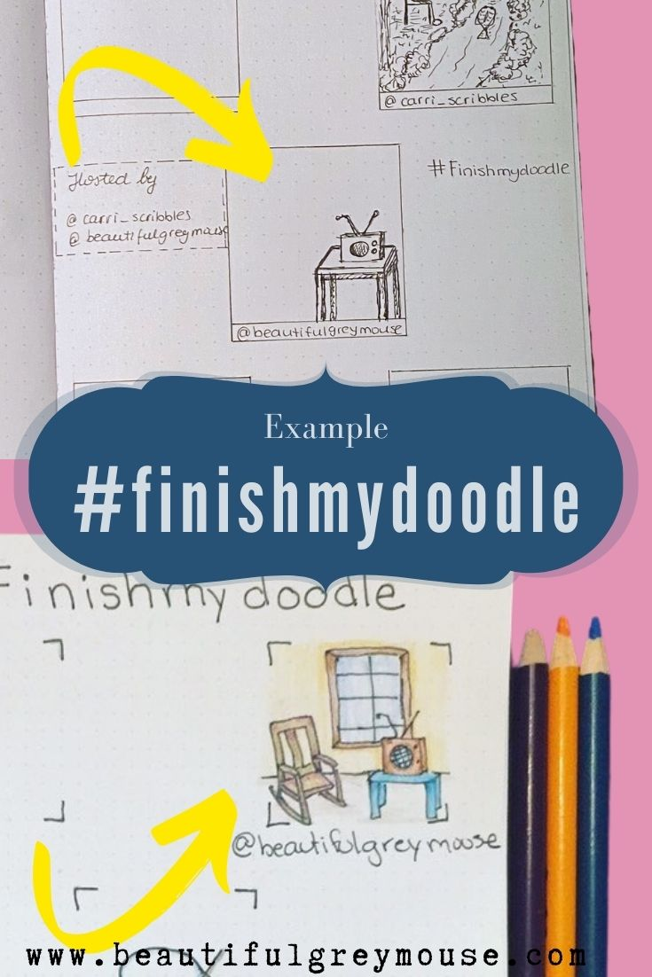 #finishmydoodle Doodle Challenge Example. Hosted By @carri_scribbles and @beautifulgreymouse On Instagram.