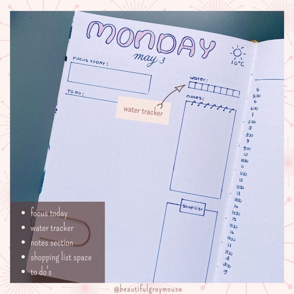 easy daily setup for your bullet journal
