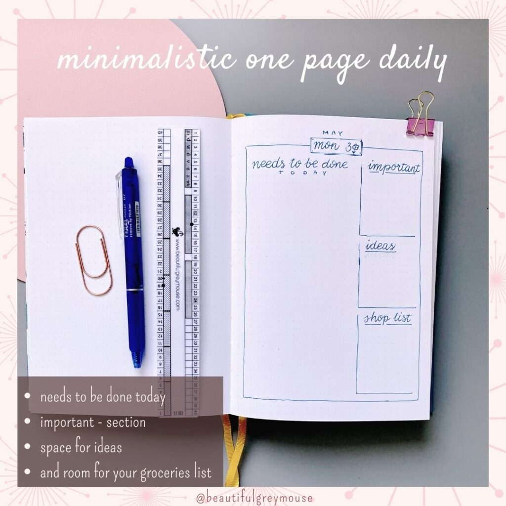 minimalistic bullet journal daily