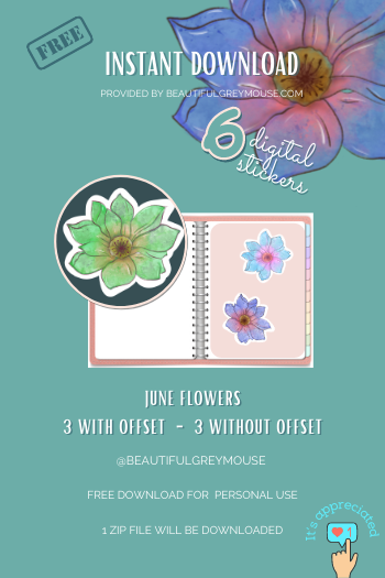 Free Monthly Download Designed by Beautifulgreymouse for Digital Planners